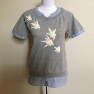 Anthro FLOREAT bird embellished sweatshirt top XS